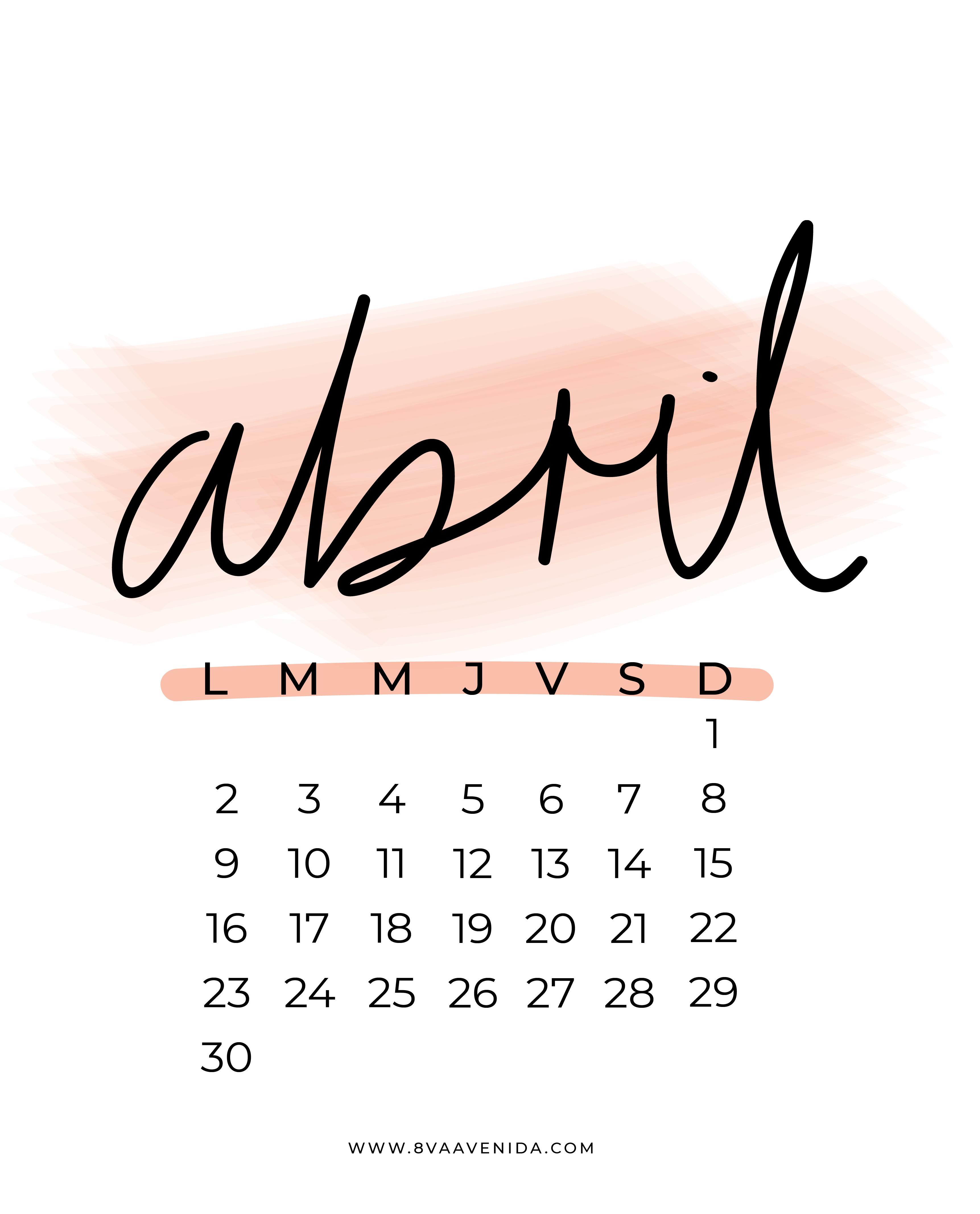 Fondos de pantalla abril 2018 8va avenida for Fondo de pantalla calendario 2018